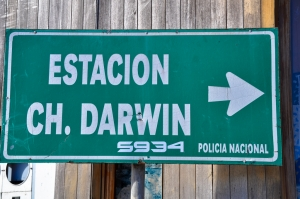 Sign for the Charles Darwin Research Station